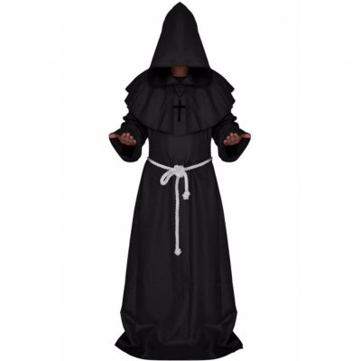Mediaeval Monks Clothing Pastor Clothes Long Robe Wizard Costume Cosplay Church Fathers Costumes Halloween Masquerade Costume Black (medieval monk)_XL