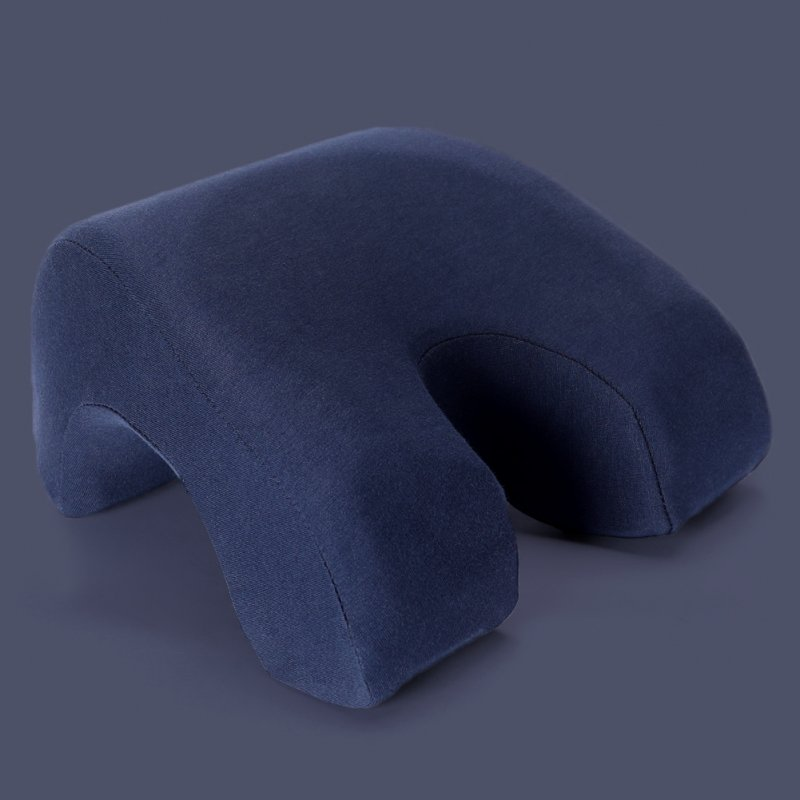Memory Foam Nap Pillow Hollow Out Pillow for Office Sleeping Navy blue_27.5 * 25 * 13cm