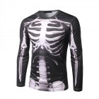 Men 3D Perspective Skeleton Printing Long Sleeve Round Collar T-Shirt Photo Color_M