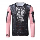 Men 3D T Shirt Long Sleeve Halloween Funny Digital Print Round Neck T-shirt Pink T10_L