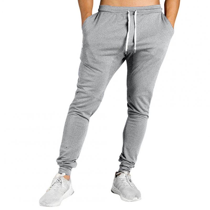 Men All-matching Trousers Loose Sports Style Stripes Design Casual Trousers  light grey_2XL