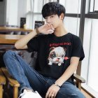 Men And Women Couple Spring And Summer Cartoon Dog Short Sleeve T-shirt Tops black_L