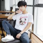 Men And Women Couple Spring And Summer Cartoon Dog Wear Short Sleeve T-shirt Tops white_M