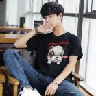 Men And Women Couple Spring And Summer Cartoon Dog Wear Short Sleeve T-shirt Tops black_M