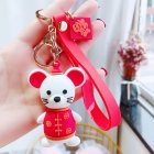 Men And Women Festive Blessing Epoxy Rat Keychain Cute Plastic Doll Key Chain Bag Pendant Epoxy Rat-Red