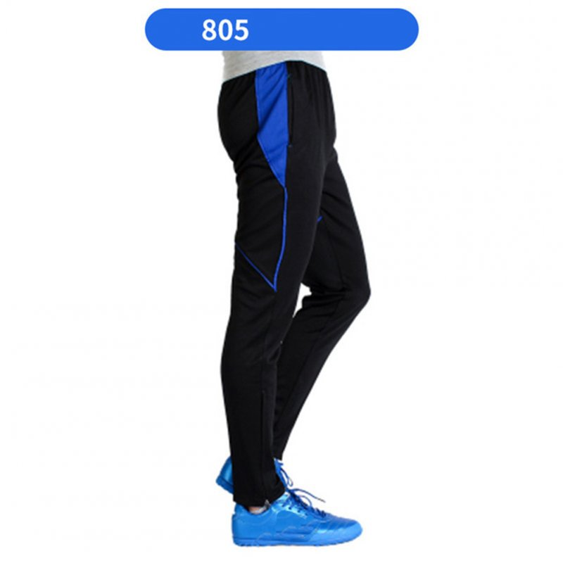 Men Athletic Training Pants Breathable Running Football Long Pants 805-blue_M