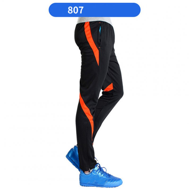 Men Athletic Training Pants Breathable Running Football Long Pants 807-orange_L