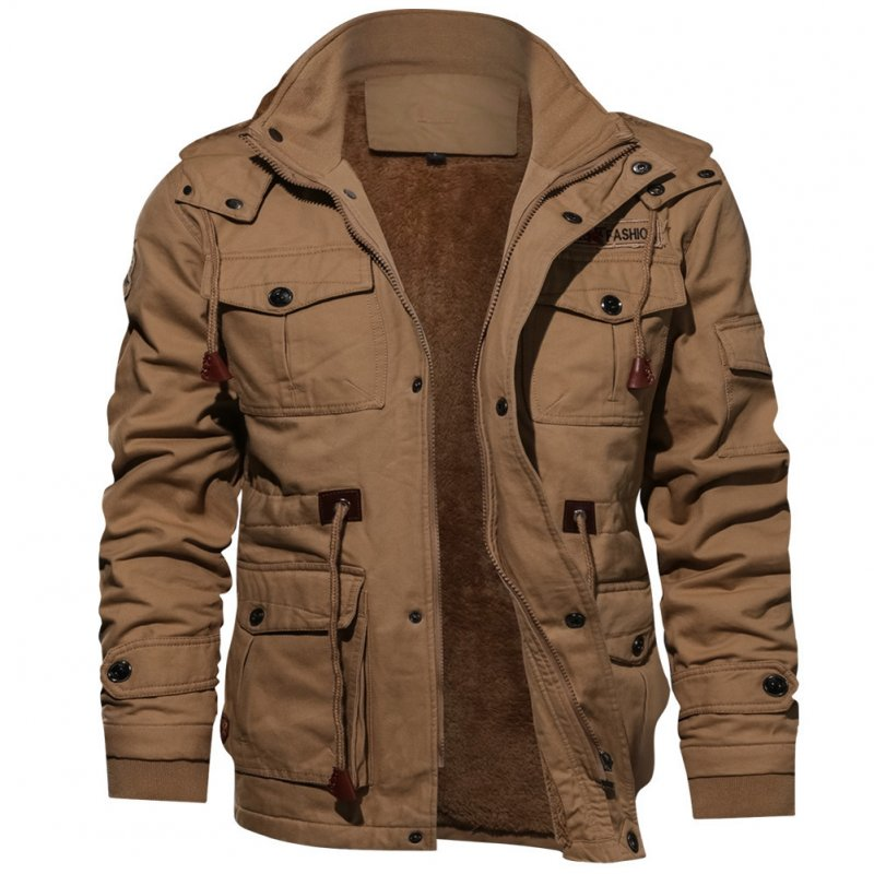Men Autumn And Winter Fleece Lined Thickening Embroidered Cotton Hooded Jacket Coat Tops Khaki_M
