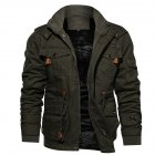 Men Autumn And Winter Fleece Lined Thickening Embroidered Cotton Hooded Jacket Coat Tops ArmyGreen_XL
