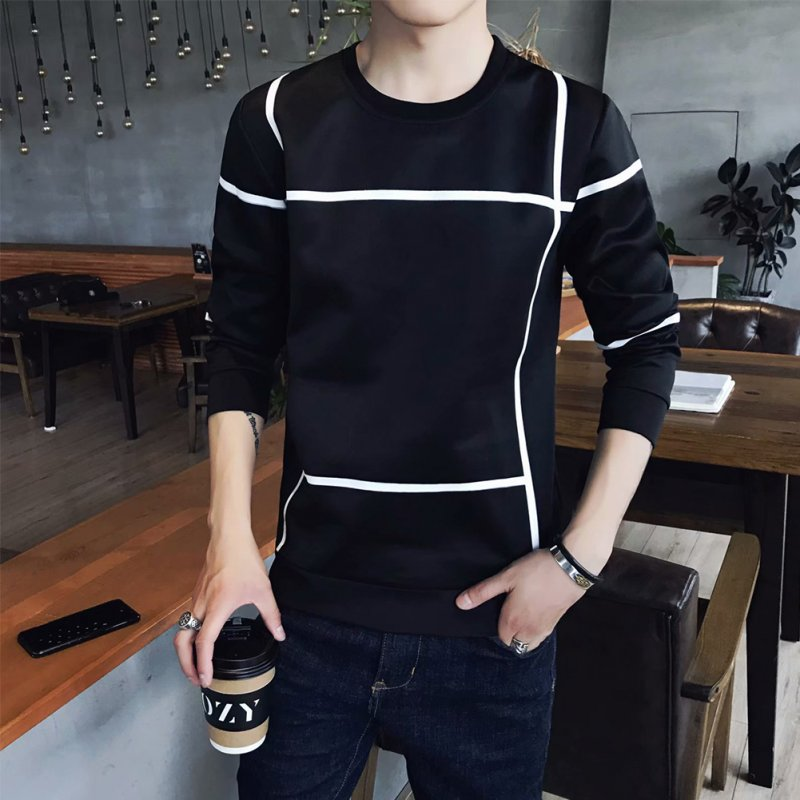 Men Autumn Fashion Slim Long Sleeve Round Neckline Sweatshirt Tops D108 black_XXL
