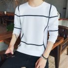 Men Autumn Fashion Slim Long Sleeve Round Neckline Sweatshirt Tops D108 white_XXL