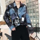 Men Autumn Fashion Vintage Printing Shirt Long Sleeve Coat Tops 9930 black_L