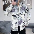 Men Autumn Fashion Vintage Printing Shirt Long Sleeve Coat Tops 9930 white_L