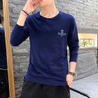 Men Autumn Long Sleeve Round Neck Solid Color Print T-Shirt Cotton Bottoming Shirt Tops blue_XXL