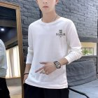 Men Autumn Long Sleeve Round Neck Solid Color Print T-Shirt Cotton Bottoming Shirt Tops white_L