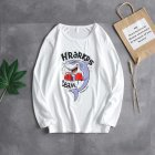 Men Autumn Print Round Neckline Long Sleeve T-Shirt Bottoming Shirt Tops 728 white_L