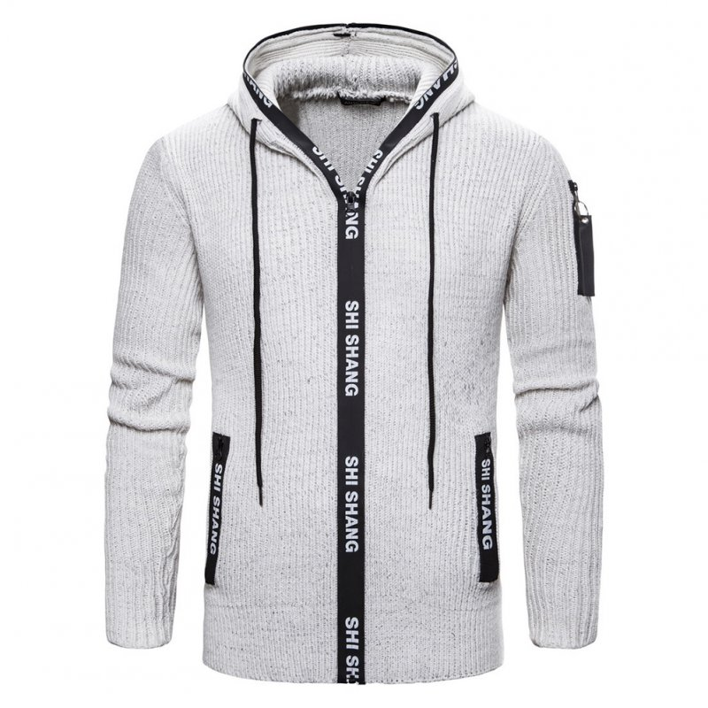 Men Autumn Slim Knit Cardigan Zip Up Hooded Sweater Jacket Coat Tops light grey_L