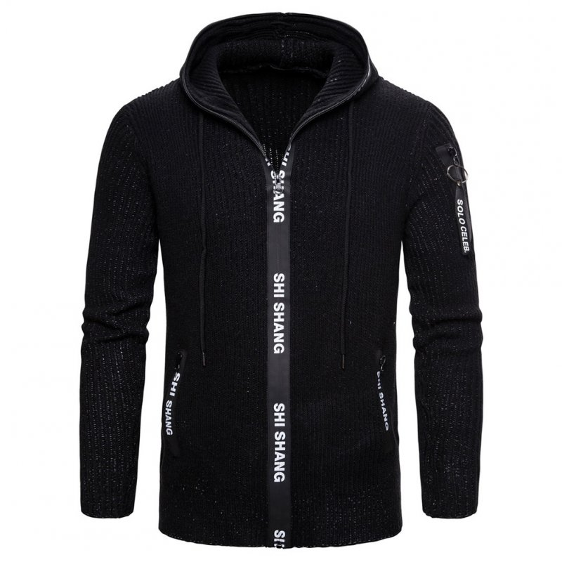 Men Autumn Slim Knit Cardigan Zip Up Hooded Sweater Jacket Coat Tops black_L