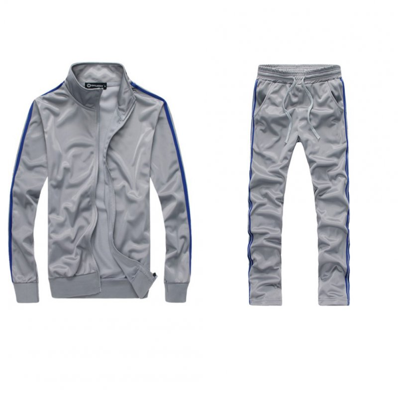 Men Autumn Sports Suit Striped Casual Sweater + Pants Two-piece Suit Outfit gray_XXL