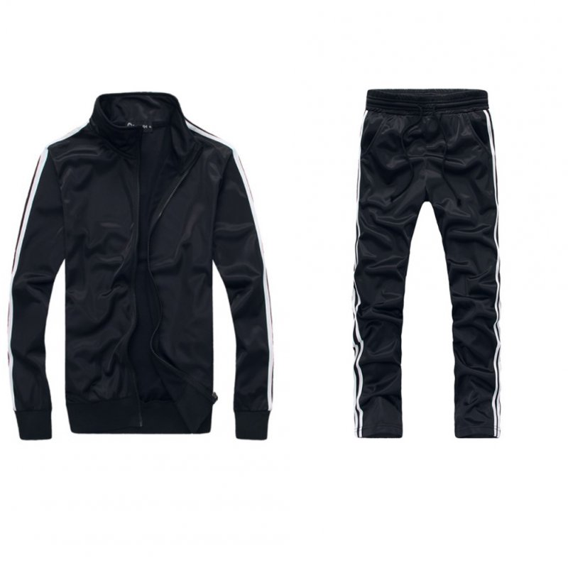 Men Autumn Sports Suit Striped Casual Sweater + Pants Two-piece Suit Outfit black_XL