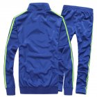 Men Autumn Sports Suit Striped Casual Sweater   Pants Two piece Suit Outfit Navy blue 4XL