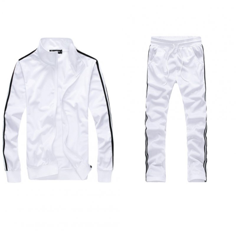 Men Autumn Sports Suit Striped Casual Sweater + Pants Two-piece Suit Outfit white_M