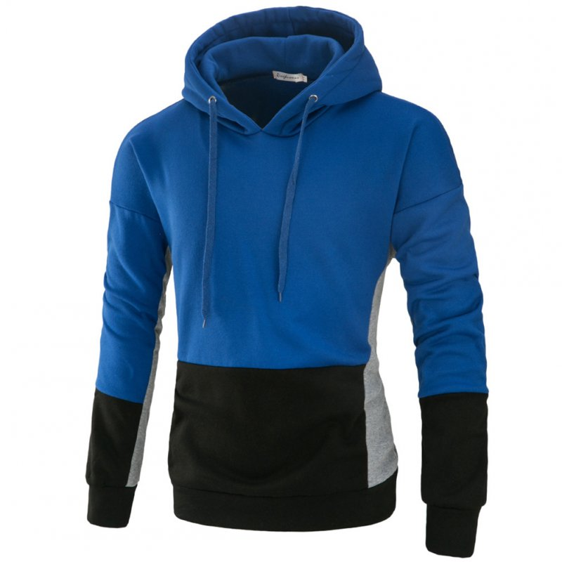 Men Autumn Stitching Hooded Pullover Casual Long Sleeve Sweater Coat Tops Royal blue_XL