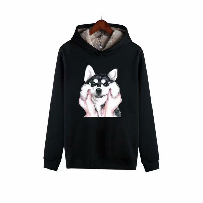 Men Autumn Winter Pullover Hooded Sweater Loose Long Sleeve Fleece Line Tops Hoodie dog-black_L