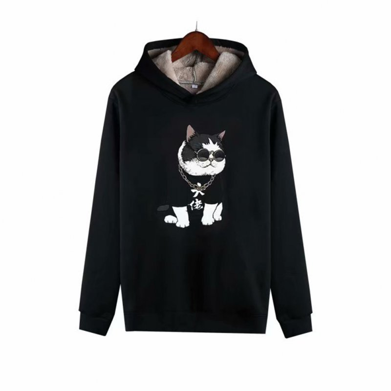 Men Autumn Winter Pullover Hooded Sweater Loose Long Sleeve Fleece Line Tops Hoodie 3#_L