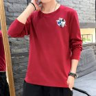 Men Autumn and Winter Long Sleeve Round Neckline Print Solid Color Cotton T-Shirt Tops red_L