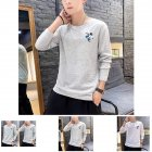 Men Autumn and Winter Long Sleeve Round Neckline Print Solid Color Cotton T Shirt Tops gray XXXXL