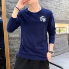 Men Autumn and Winter Long Sleeve Round Neckline Print Solid Color Cotton T-Shirt Tops blue_L
