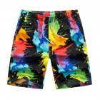 Men Beach Pants Quick Dry Casual Large Size Loose Shorts Ink painting_XXL