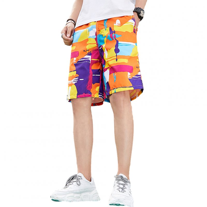 Men Beach Quick Dry Colorful Large Size Loose Elastic Shorts as shown_4XL