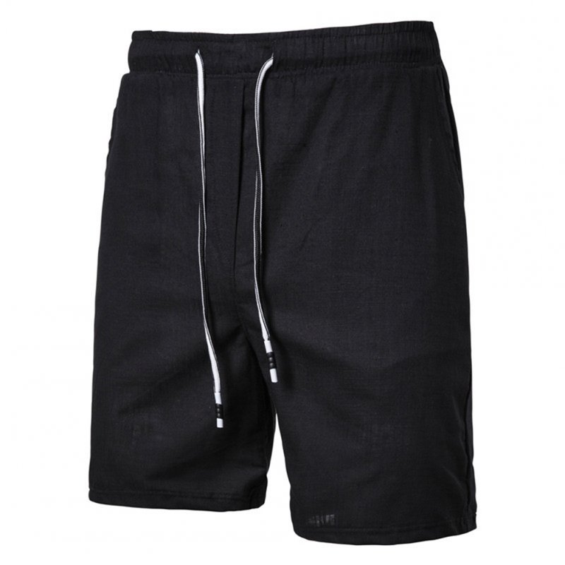 Men Beach Shorts Straight Tube Shape Flax Solid Color Shorts  black_XL