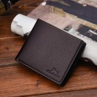 Men Boys Teens Xams Gift Concise Wearable PU Leather Multi Position Wallet Purse deep brown