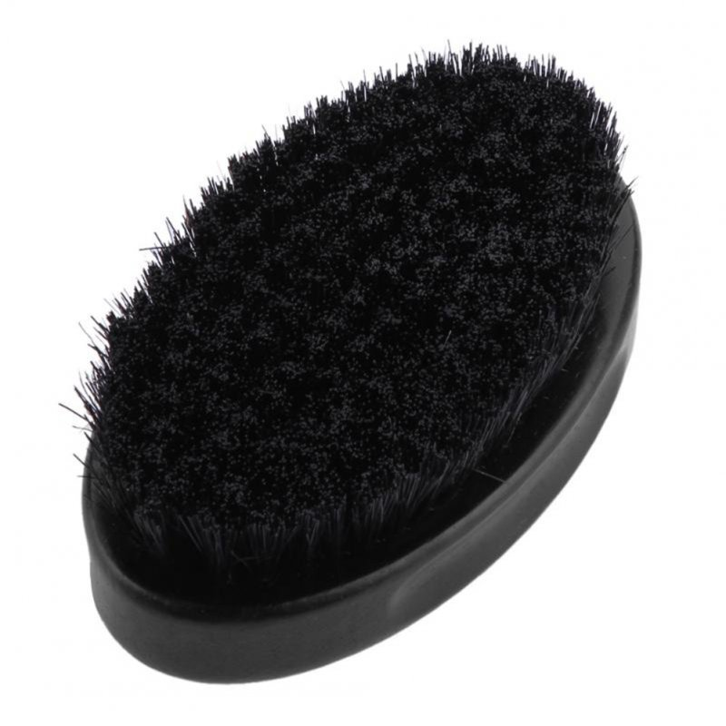 Men Bristle Beard Brush Oval Shape Wood Handle Mustache Comb Shaving Brush Face Cleaning Tool