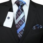 Men Business Classic Polyester Silk Tie Necktie Set Necktie + Kerchief + Cuff-link Set #-2