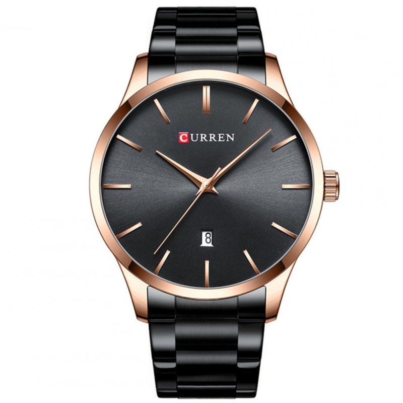 Men Business Quartz Watch Date Display Waterproof Stainless Steel Band Simple Wristwatch Black