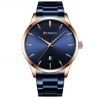 Men Business Quartz Watch Date Display Waterproof Stainless Steel Band Simple Wristwatch Blue