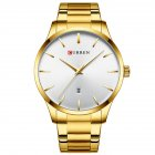 Men Business Quartz Watch Date Display Waterproof Stainless Steel Band Simple Wristwatch Gold