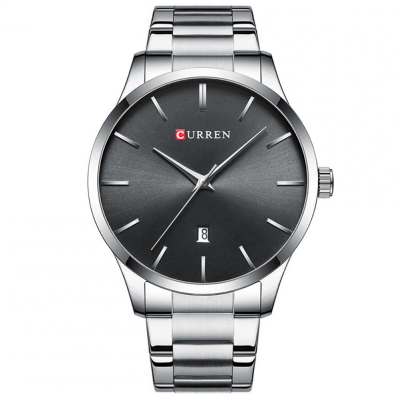 Men Business Quartz Watch Date Display Waterproof Stainless Steel Band Simple Wristwatch Silver B