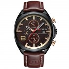 Men Business Quartz Watch Chronograph Date Display Genuine Leather Strap Waterproof Wristwatch Coffee