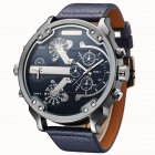 Oulm Men Business Quartz Leather Watch Blue