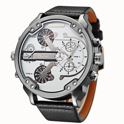 Oulm Men Business Quartz Leather Watch White