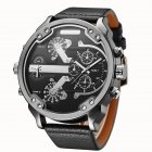 Men Business Two Time Zone Quartz Stylish Luxury Leather Watch Black