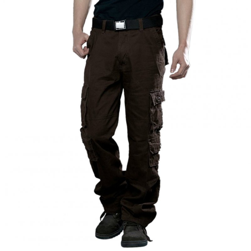 Men Camouflage Multiple Pockets Casual Long Trousers  coffee_38 (2.92 feet)