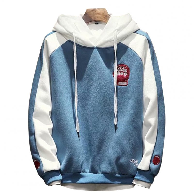 Men Campus Casual Loose Fleece Hoodeid Long-Sleeved Letters Printed Sweater Coat  Fist sweater blue_M
