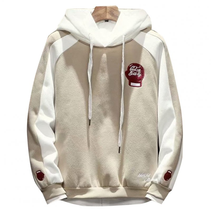 Men Campus Casual Loose Fleece Hoodeid Long-Sleeved Letters Printed Sweater Coat  Fist sweater khaki_L