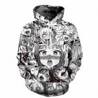 Men Cartoon Ahegao 3D Digital Printing Casual Long Sleeve Hooded Sweatshirts Coat Black and white comic sweater_M